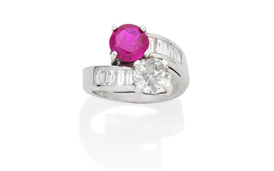 A ruby and diamond crossover ring