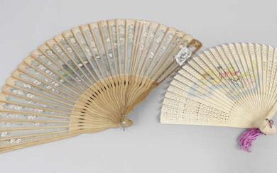 A selection of fans, to include an antique ladies' folding hand held fan, with pierced horn shaped vanes, further decorated with a painted scene depicting a young boy seated upon the back of a dog, etc.