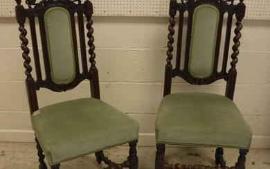 A set of six late Victorian carved oak dining chairs in the ...