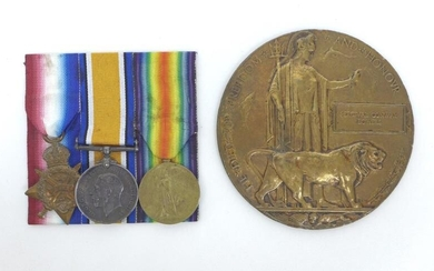 A trio of WWI medals and a Death Plaque...