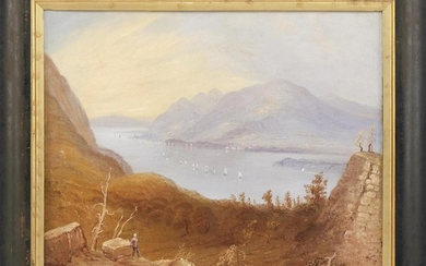 "AFTER WILLIAM HENRY BARTLETT, New Hampshire/United Kingdom, 1809-1854, ""View from Fort Putnam"" (West Point)., Oil on canvas, 20"" x 2..."