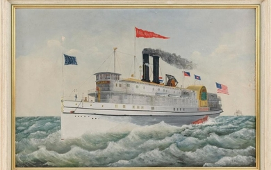"AMERICAN SCHOOL, Early 20th Century, The sidewheeler Pilgrim of the Fall River Line., Oil on canvas, 24"" x 36"". Framed 27.5"" x 39.5""."