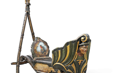 AN ALPINE PARCEL-GILT AND POLYCHROME-PAINTED SLEIGH, 19TH CENTURY, POSSIBLY TYROL