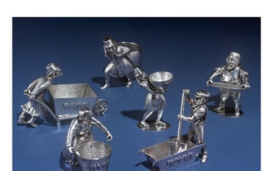 AN AMERICAN SILVER SIX PIECE FIGURAL PASSOVER SET, 20TH CENTURY