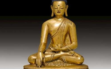 AN EXCELLENT GILT BRONZE FIGURE OF THE SEATED BUDDHA.