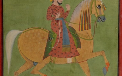 AN INDIAN MINIATURE DEPICTING A MAN ON A HORSE, INDIA