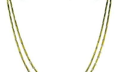 ANTIQUE 18k Yellow Gold Watch Chain Necklace Circa