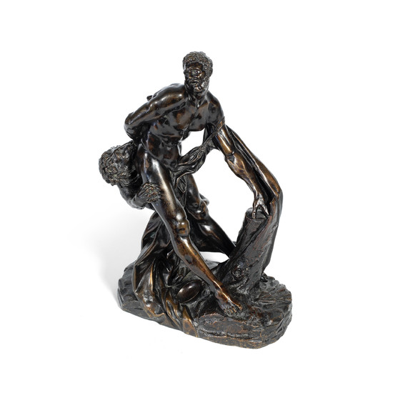 "After Pierre Puget (French, 1620 -1694): A 19th century patinated bronze figure of ""Milo of Croton"""