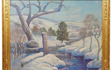 Alfred Lowe 'Winter Creek' Oil Painting