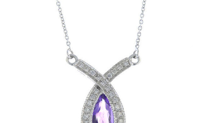 An 18ct gold amethyst and diamond necklace.