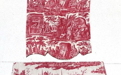 An Early 19th Century French Toile Pelmet, worked on a...
