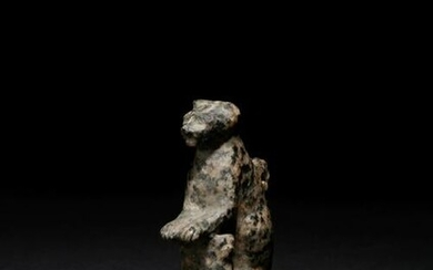 An Egyptian Granite Amulet of a Cat with Kittens Height