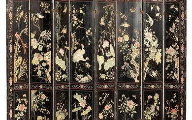 An Eight-Panel Chinese Lacquered Room Screen