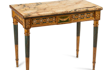 An Italian Neoclassical Painted and Parcel Gilt Console Table