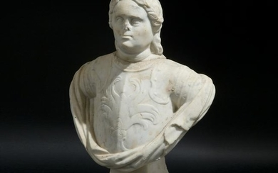 An antique white marble male bust