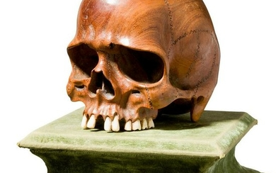 An extravagant Japanese sculpture of a skull as a