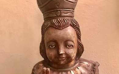 Ancient 19th century sculpture - Infant Jesus of Prague - In wood with glass eyes - extremely rare - Wood - First half 19th century