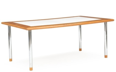 Annti Nurmesniemi: Dining table with legs of chromed metal. Shoes of pine wood. Top of Oregon pine and two enamel plates.