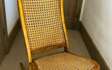 Antique 19th C Carved & Caned Rocking Chair