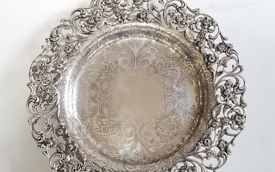 Antique American Sterling Silver Repousse Platter
