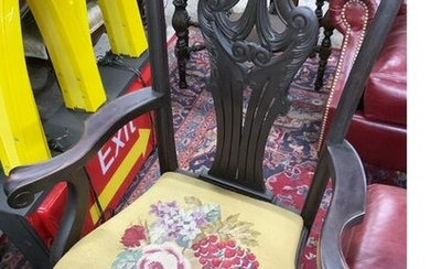 Antique Carved Chippendale-Style Armchair.