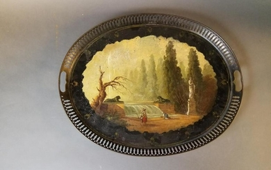 Antique Hand Painted Metal Tole Tray