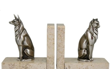 Art Deco bronze bookends for dogs and cats