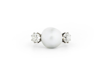BAGUE PERLE FINE ET DIAMANTS | NATURAL PEARL AND DIAMOND RING