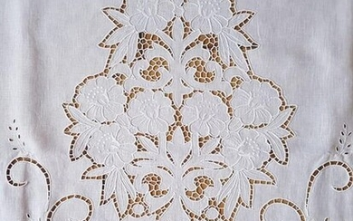 Bellavia curtain in pure linen with embroidery and full stitch by hand - Linen - after 2000