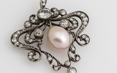 Belle Époque Yellow-Gold, Silver-Topped, Diamond and Pearl Pendant