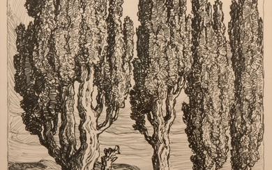 Birger Sandzen 'Utah Poplars' Pencil-Signed Lithograph