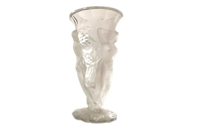 Bohemian crystal vase decorated with naked women.