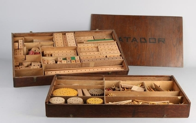 Box full of old Matador wooden construction toys. With
