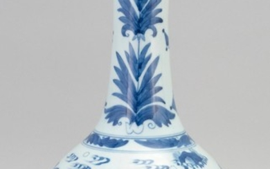 """CHINESE BLUE AND WHITE PORCELAIN BOTTLE VASE In mallet form, with figural landscape decoration. Height 13.5""""."""