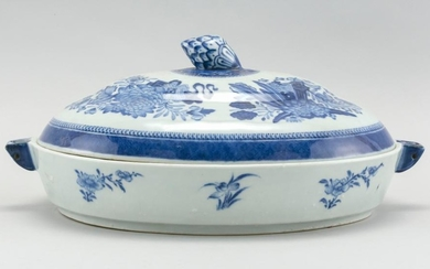 CHINESE BLUE AND WHITE PORCELAIN COVERED HOT WATER SERVING DISH Domed cover with pinecone finial. Decorated in a Fitzhugh pattern. L...