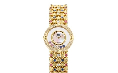 CHOPARD | HAPPY DIAMONDS, REFERENCE 20/5546 A YELLOW GOLD DIAMOND, SAPPHIRE AND PINK SAPPHIRE-SET BRACELET WATCH WITH MOTHER-OF-PEARL DIAL, CIRCA 2008