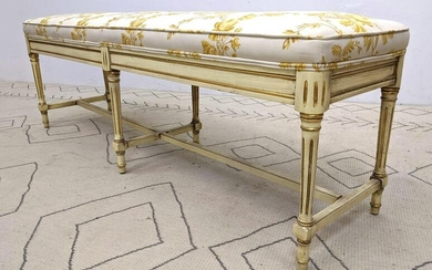 CLAUDE MOULIN French Upholstered Painted Bench. Antiqu