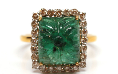 Carved emerald, diamond, 18k yellow gold ring
