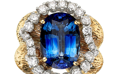 Ceylon Sapphire, Diamond, Gold Ring The ring features an...