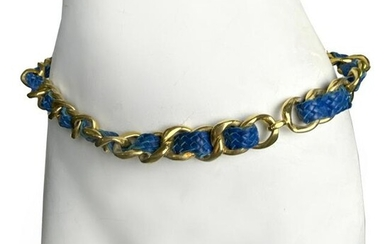 Chanel Gold Chain Blue Lab Skin Leather Belt 31""