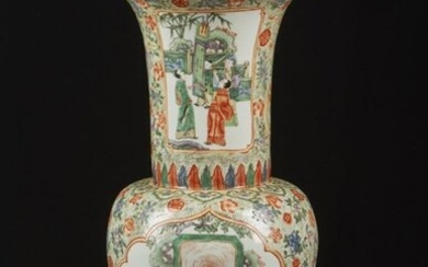 Chinese Art. A large Canton porcelain vase painted with scholars within cartouches China, early 20th century . Cm 30,00 x 62,00.