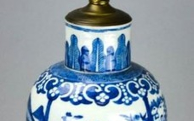 Chinese Blue & White Porcelain Vase Mount Lamp
