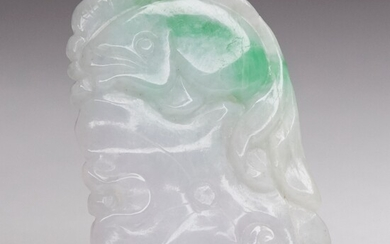 Chinese Carved Green and White Jade Plaque of a Fish