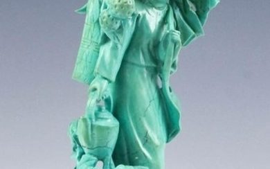 Chinese Carved Turquoise Lady w Teapot Figurine
