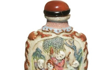 Chinese Famille Rose Carved Snuff Bottle, 19th Century