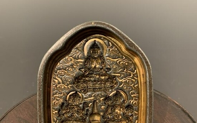 Chinese Gilt Bronze Mold of Buddha