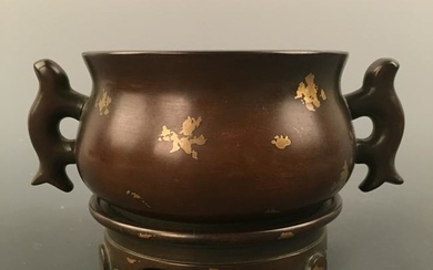 Chinese Gilt Dot Bronze Censer