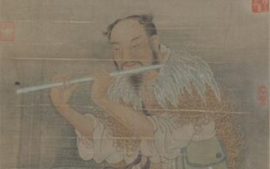 Chinese Painting Of Playing The Jade Flute