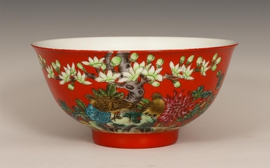 Chinese Red Ground Famille Rose Flower Bird Bowl