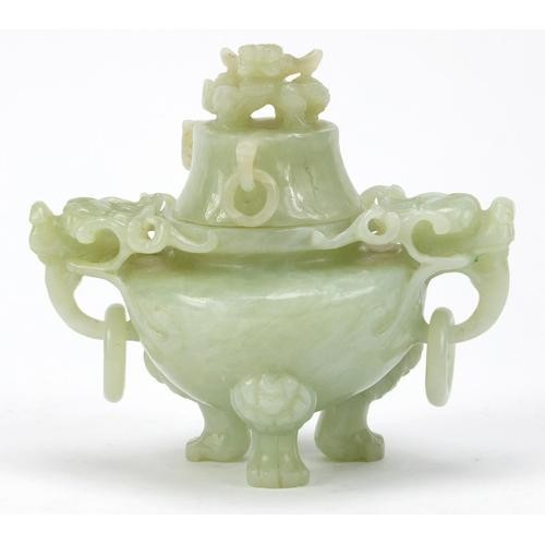 Chinese pale green jade dragon design lidded koro, with